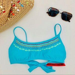 4/$25 Bikini Nation Blue Swim Bikini Top Large New